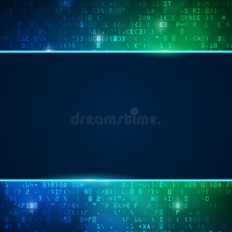 Technology computer digital data code background. With place for text. Blue and green illustration royalty free illustration