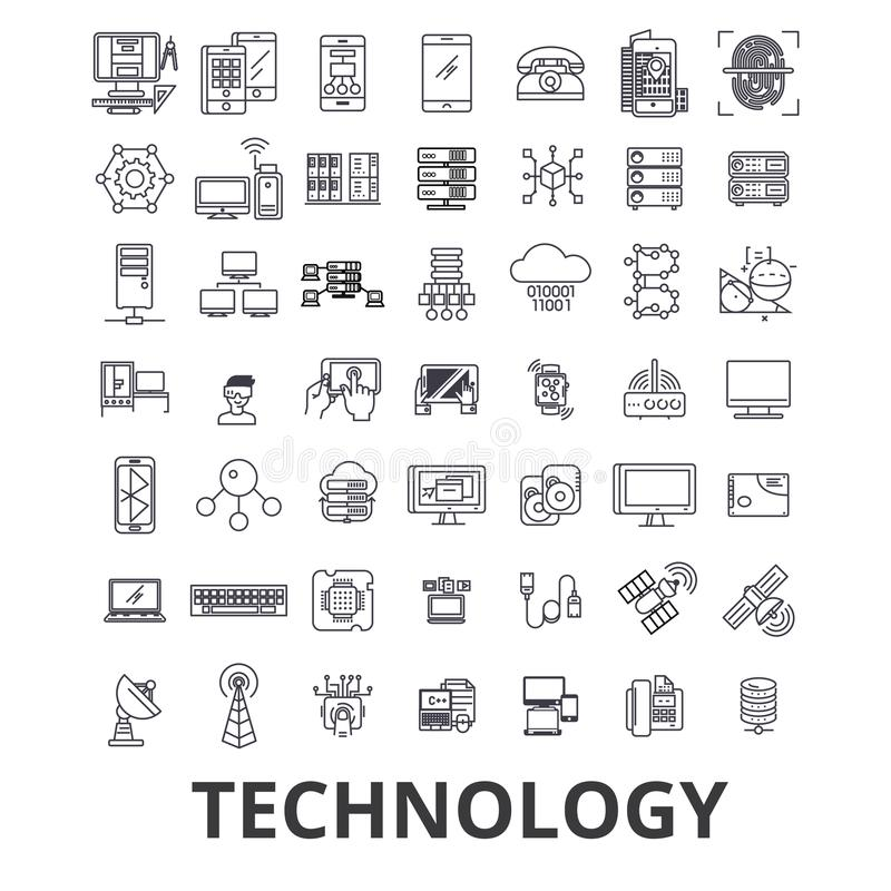 Technology, computer, it, innovation, science, information, cloud network line icons. Editable strokes. Flat design royalty free illustration