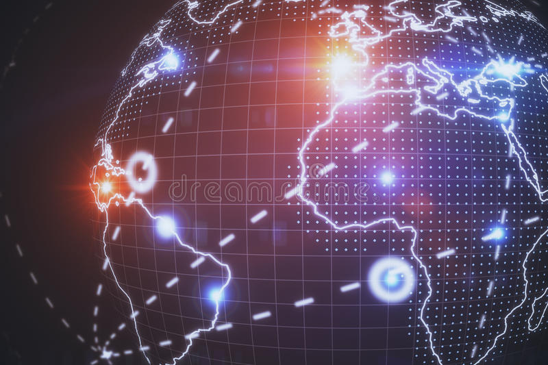 Technology concept. Abstract connected dots on earth. Technology concept stock photography