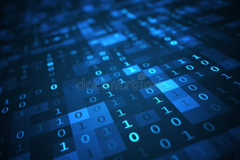 Technology concept. Binary code background. 3D rendered illustration. Technology concept. Binary code background. 3D rendered illustration royalty free illustration