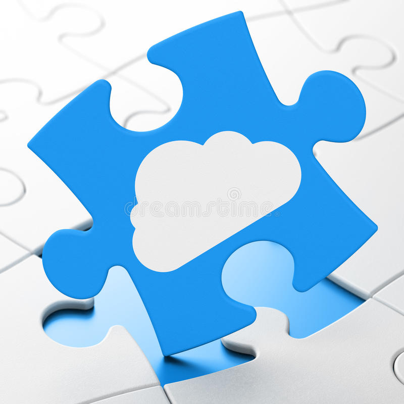 Technology concept: Cloud on puzzle background stock illustration