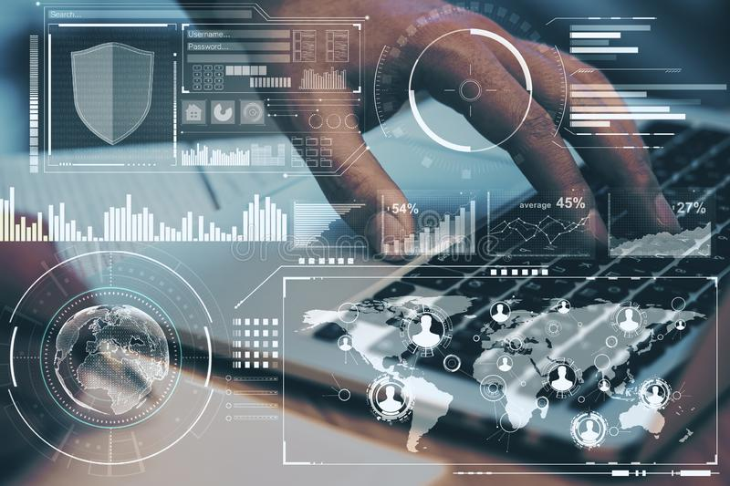 Technology concept with digital screen with diagram and graphs and man hand typing on laptop keyboard.Double exposure royalty free stock image