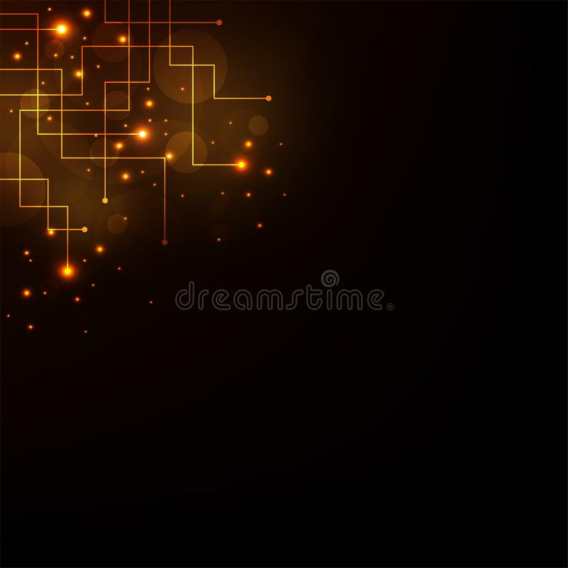 Technology in the concept of electronic circuits on a dark orange background. Vector abstract background shows the innovation of technology and technology royalty free illustration