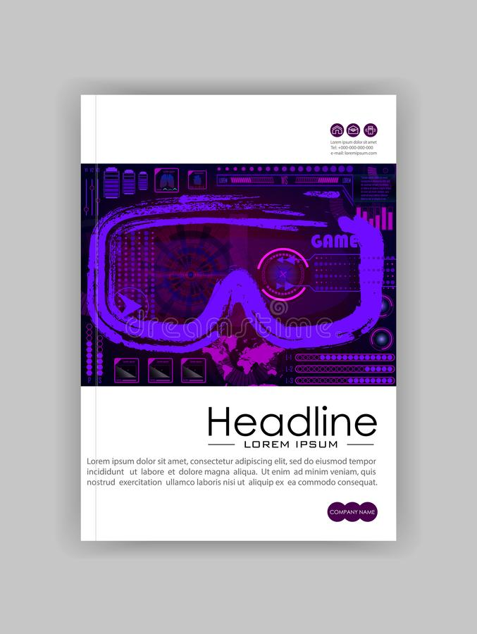 Technology Concept With Hud, Gui Banner Design Elements. Head-up royalty free illustration
