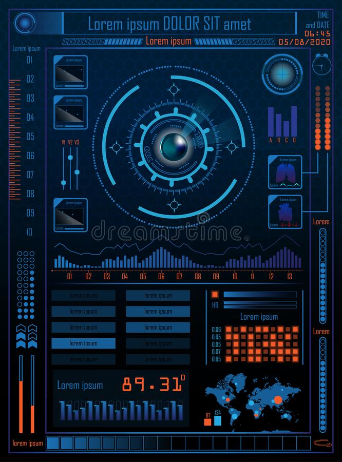 Technology Concept With Hud, Gui Design Elements. Head-up Display Monitor. Futuristic User Interface. Infographic Menu Ui For stock illustration