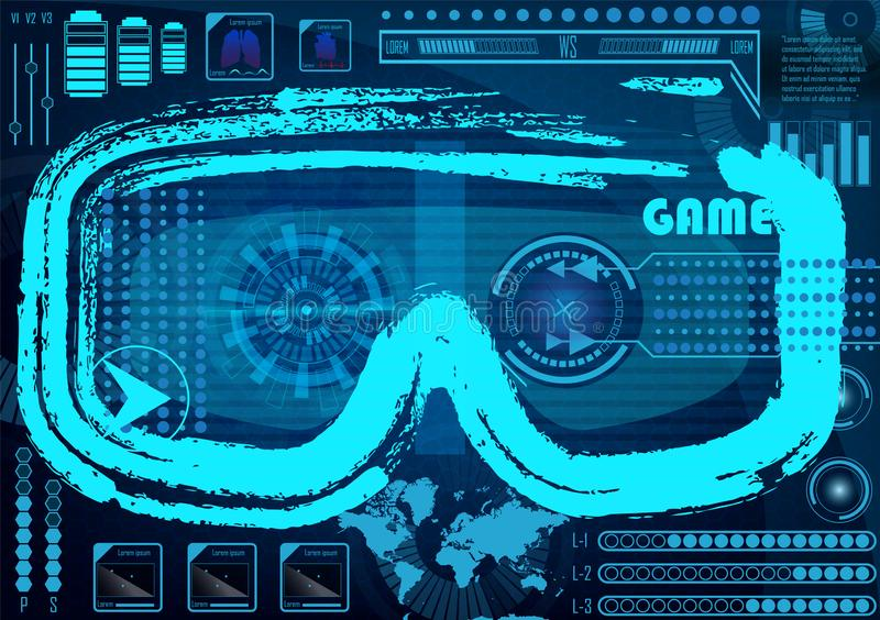 Technology Concept With Hud, Gui Design Elements. Head-up Displa vector illustration