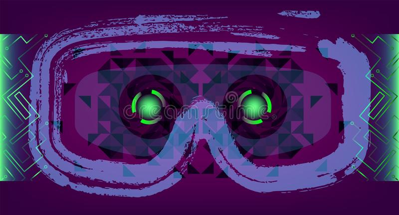 Technology Concept With Hud, Gui Design Elements. Head-up Display Monitor. Futuristic User Interface. Infographic Menu Ui For. Vr. VR goggles. Hologram headset royalty free illustration