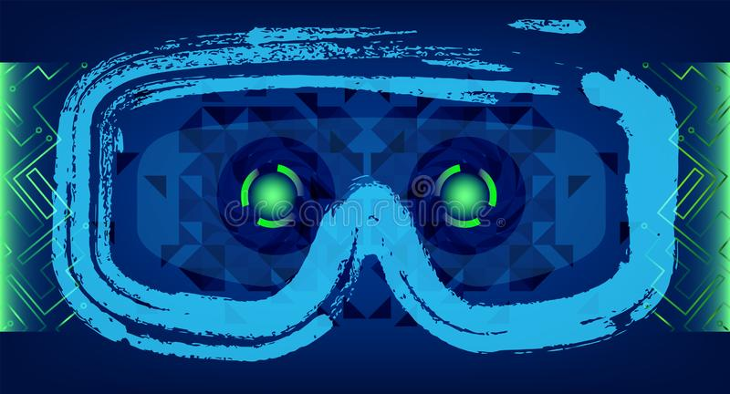 Technology Concept With Hud, Gui Design Elements. Head-up Display Monitor. Futuristic User Interface. Infographic Menu Ui For. Vr. VR goggles. Hologram headset vector illustration