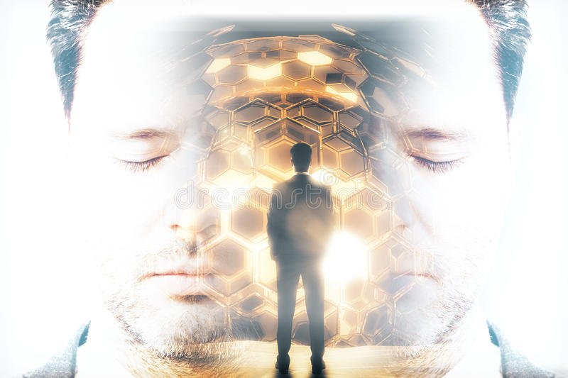Technology concept multiexposure. Abstract portrait and back view of thoughtful businessman looking at golden cell sphere. Double exposure. Technology concept stock photography