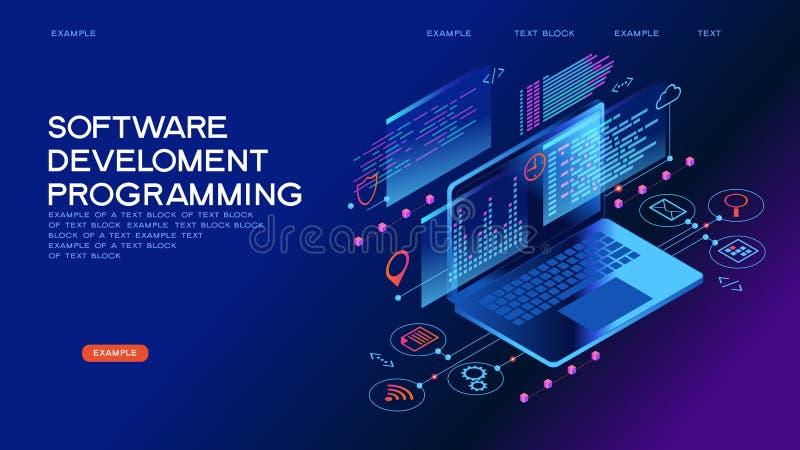 Programming web banner. Technology concept. Programming web banner. Best programming languages. Technology process of Software development stock illustration