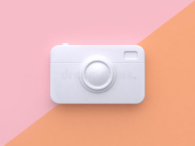 Technology concept white abstract camera minimal pink orange tilted background 3d render stock illustration