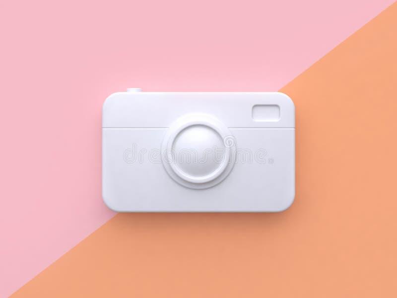 Technology concept white abstract camera minimal pink orange tilted background 3d render. Ing stock illustration