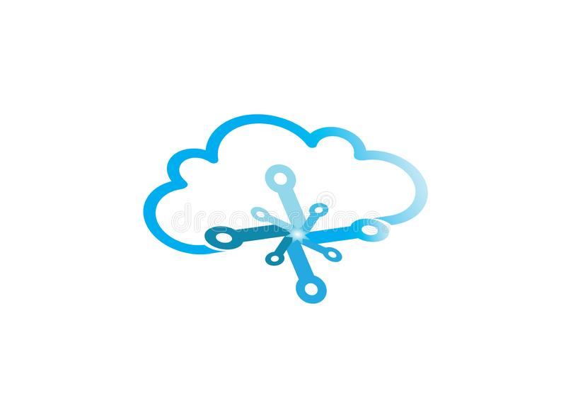 Technology connect with clouds symbol logo vector illustration