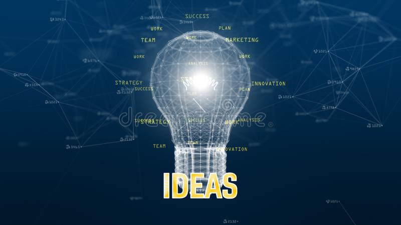 Technology data network with digital lamp on blue background creative idea stock illustration