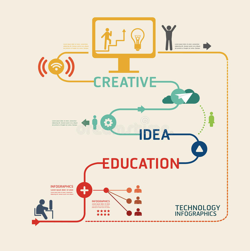 Technology Design Pictogram Template / Can Be Used For Infograph Stock Image
