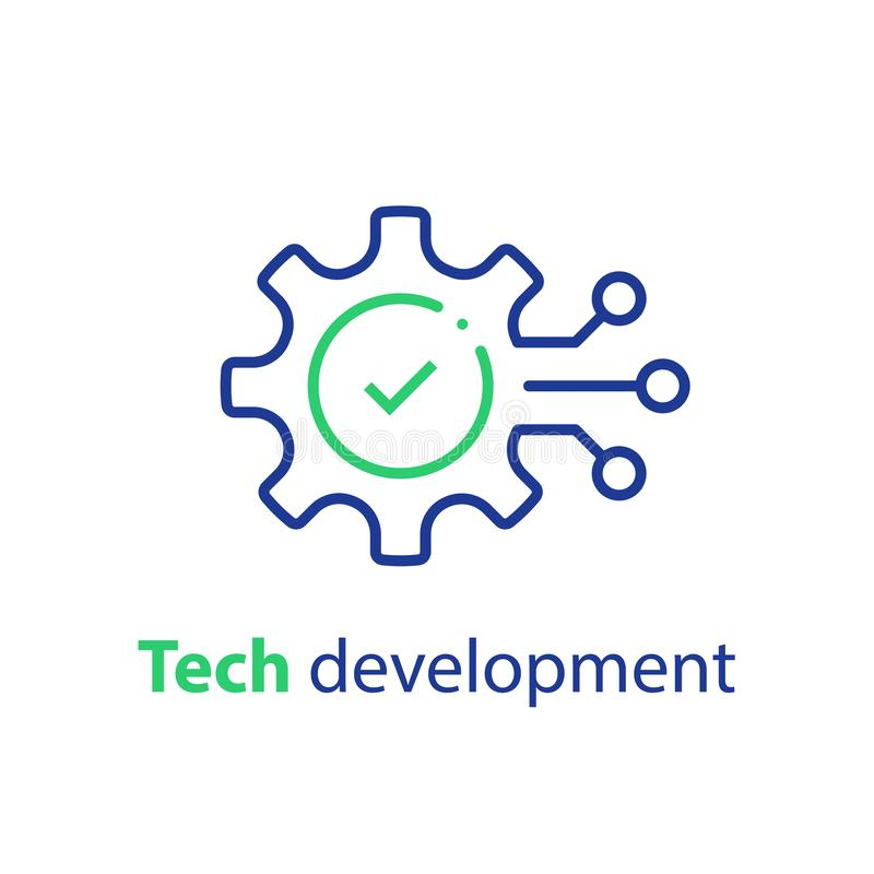 Innovation concept, technology development, system integration, software business, technical support, smart solution. Technology development, cogwheel and check vector illustration