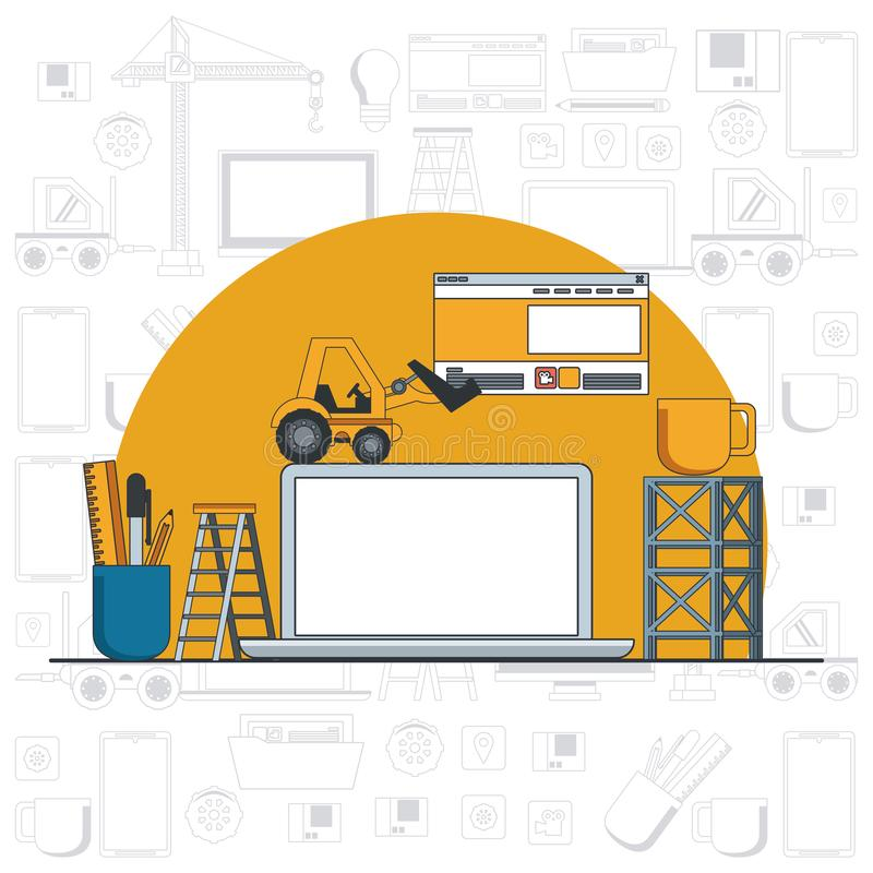 Technology device laptop maintenance cartoon. Technology device laptop maintenance under website contruction and engineer support with heaavy construction tools stock illustration