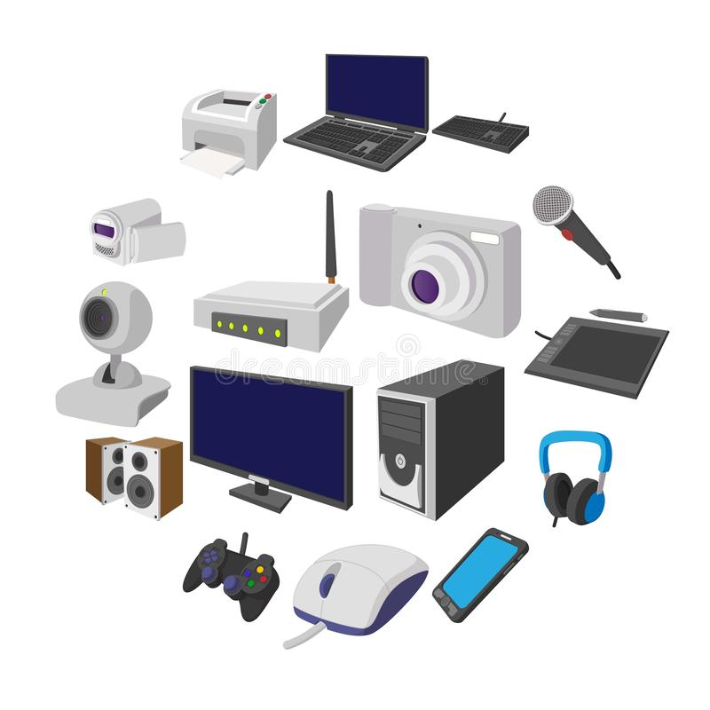 Technology and devices cartoon icons set. Isolated on white background stock illustration