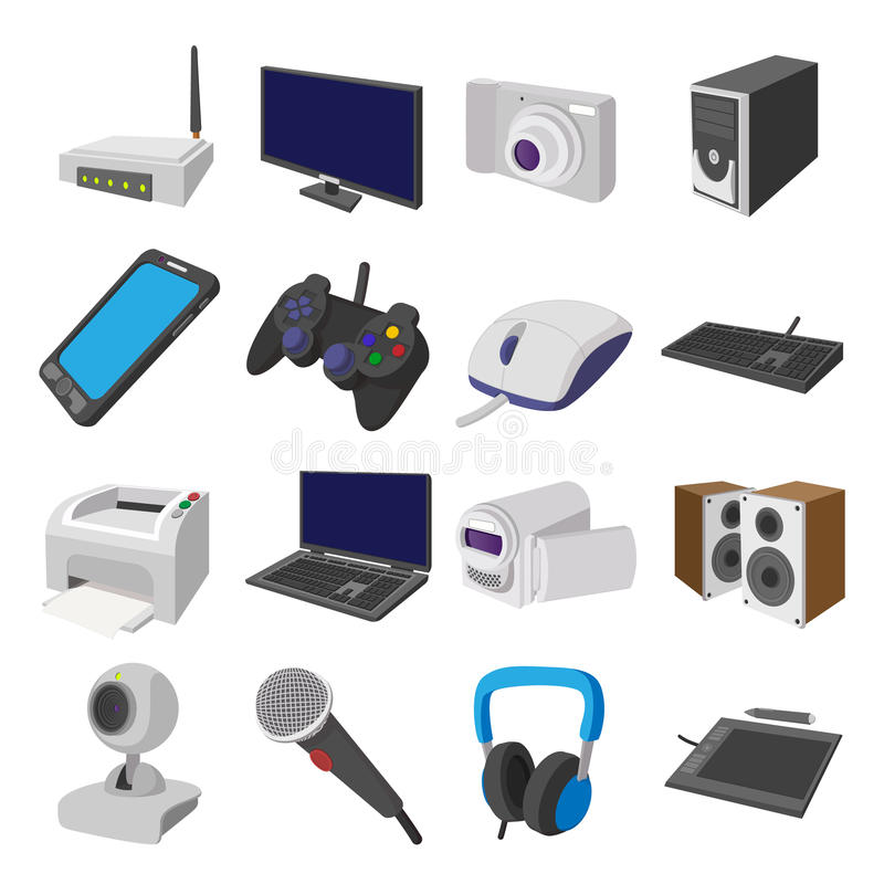Technology and devices cartoon icons set. On white background vector illustration