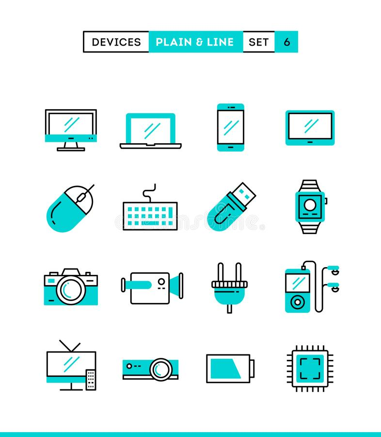 Technology, devices, gadgets and more. Plain and line icons set, flat design stock illustration