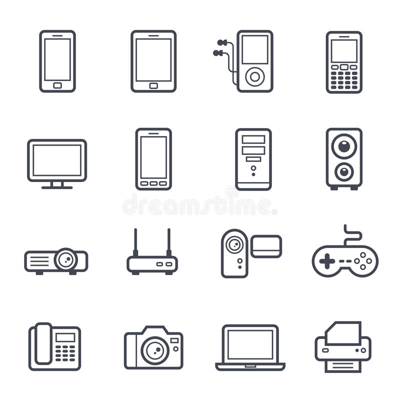 Technology and Devices Icon Bold Stroke. On White Background. Vector Illustration stock illustration