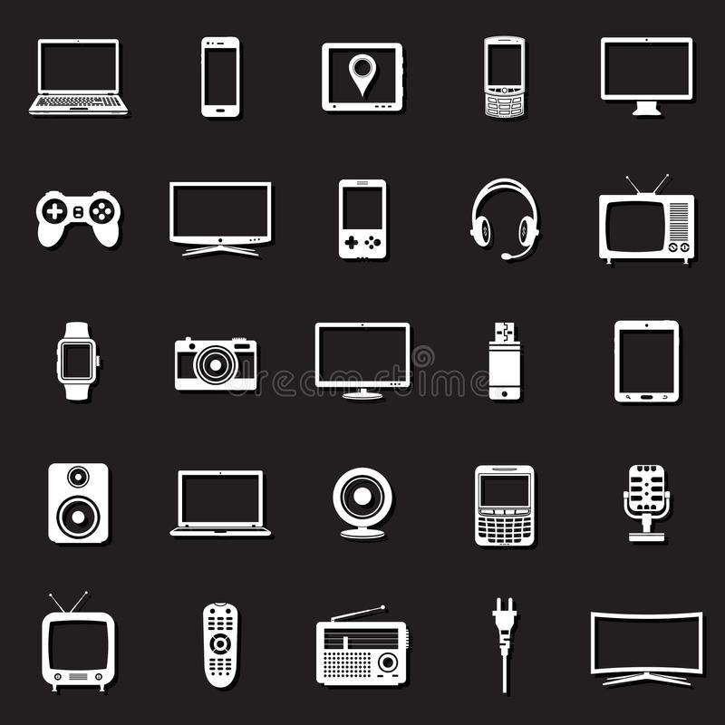Technology devices icons set royalty free illustration