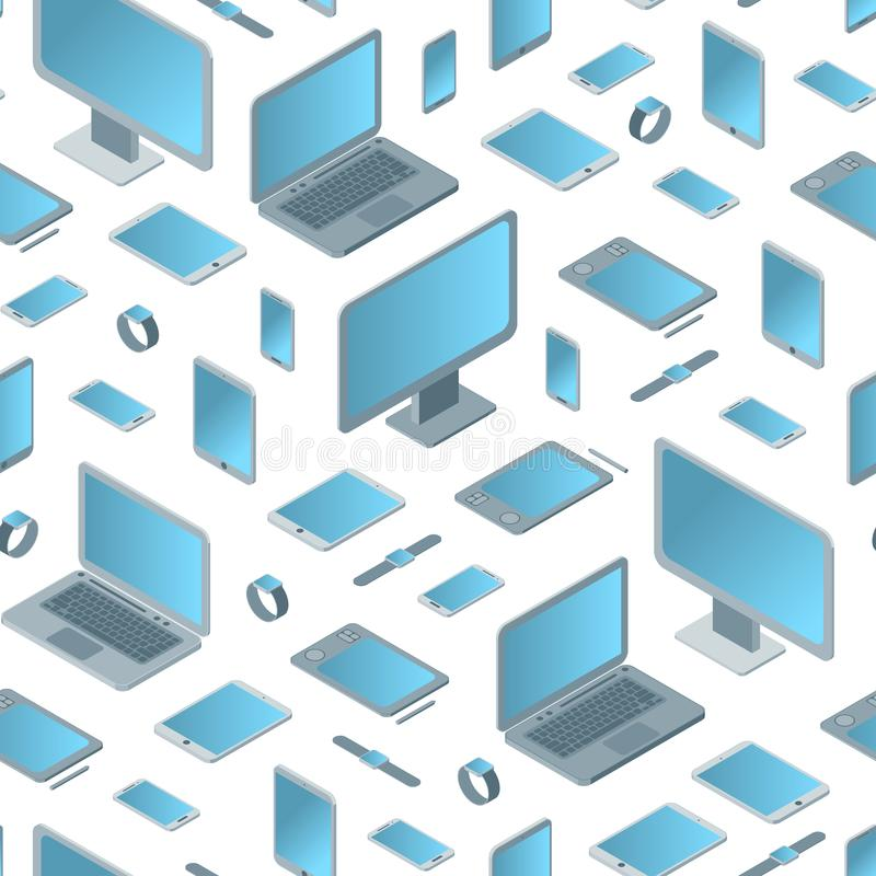 Technology Devices Seamless Pattern Background Isometric View. Vector royalty free illustration