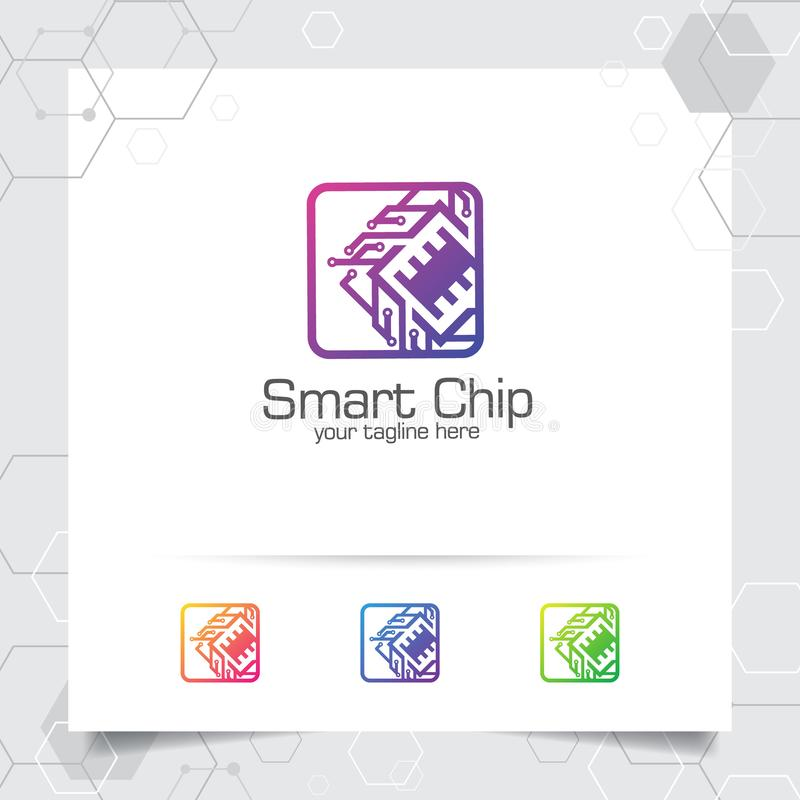 Technology digital logo vector design with concept of microchip icon for programmer, technology community, application software, royalty free illustration