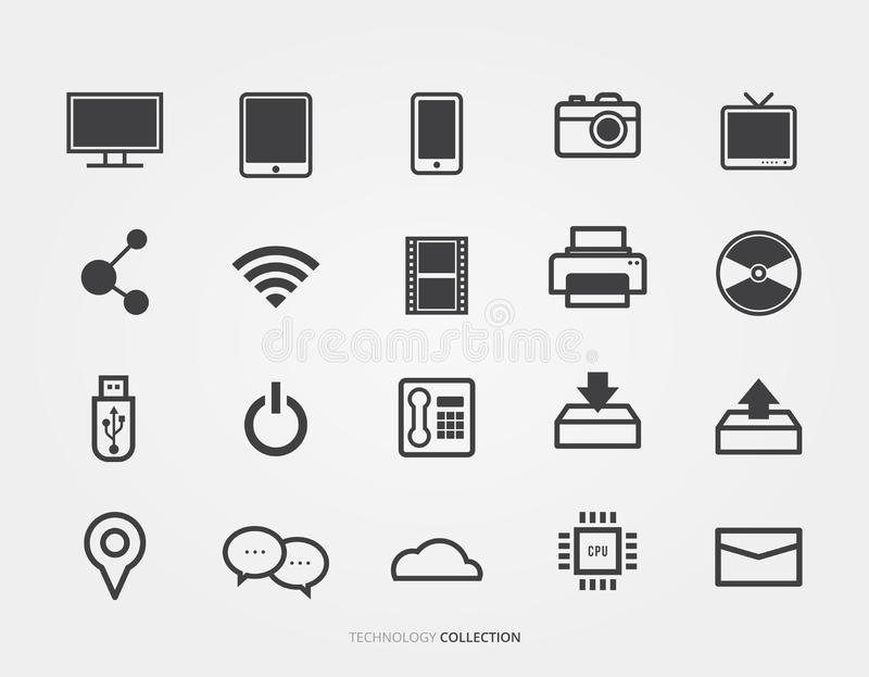 Technology and digital media set. The Technology and digital media set royalty free illustration