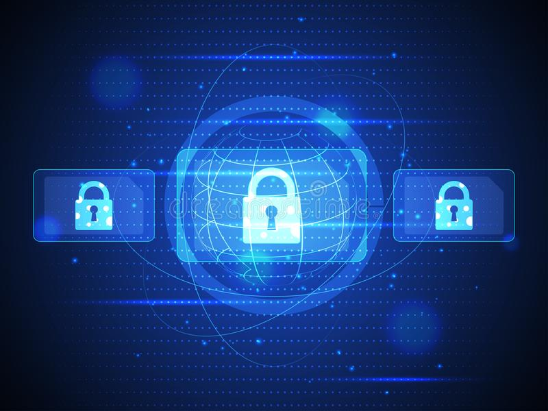 Technology digital security of cyber communication and data. Vector illustration stock illustration
