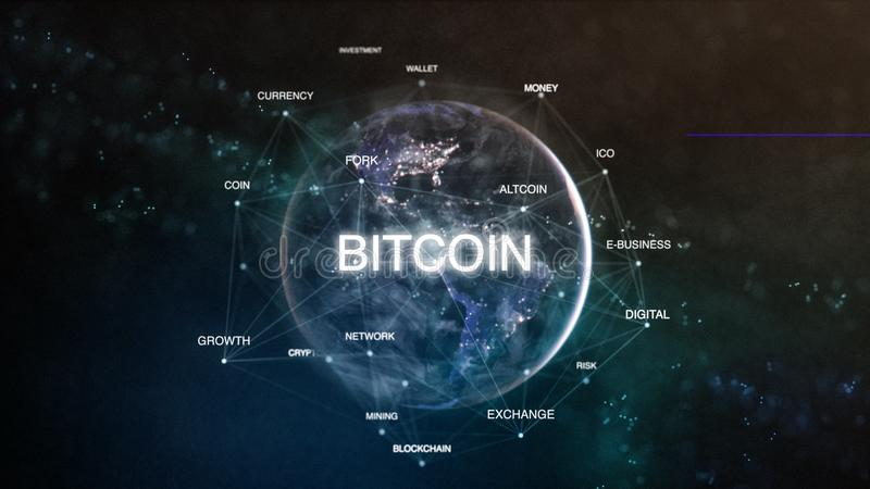 Technology earth from space word set with bitcoin in focus. Futuristic bitcoin cryptocurrency oriented words cloud 3D. Illustration. Crypto e-business keywords stock illustration