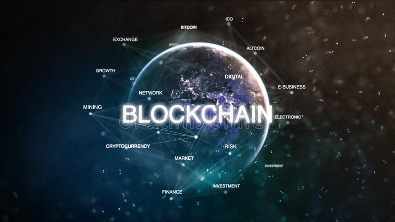Technology earth from space word set with blockchain in focus. Futuristic bitcoin cryptocurrency oriented words cloud 3D. Illustration. Crypto e-business stock illustration