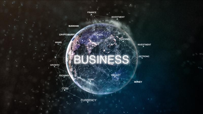Technology earth from space word set with business in focus. Futuristic bitcoin cryptocurrency oriented words cloud 3D. Illustration. Crypto e-business keywords royalty free illustration