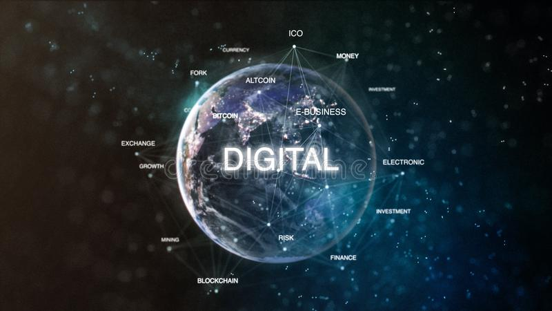 Technology earth from space word set with digital in focus. Futuristic bitcoin cryptocurrency oriented words cloud 3D. Illustration. Crypto e-business keywords royalty free illustration