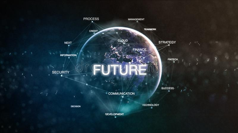 Technology earth from space word set with future in focus. Futuristic financial oriented words cloud 3D illustration. Success keywords concept vector illustration