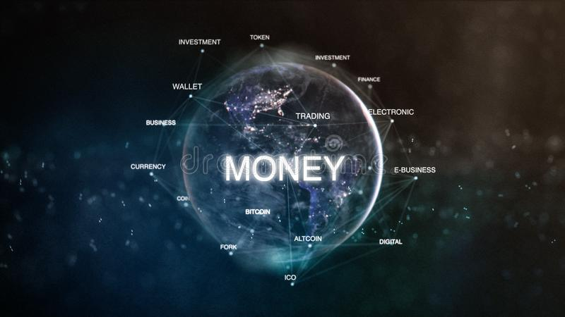Technology earth from space word set with money in focus. Futuristic bitcoin cryptocurrency oriented words cloud 3D. Illustration. Crypto e-business keywords stock illustration
