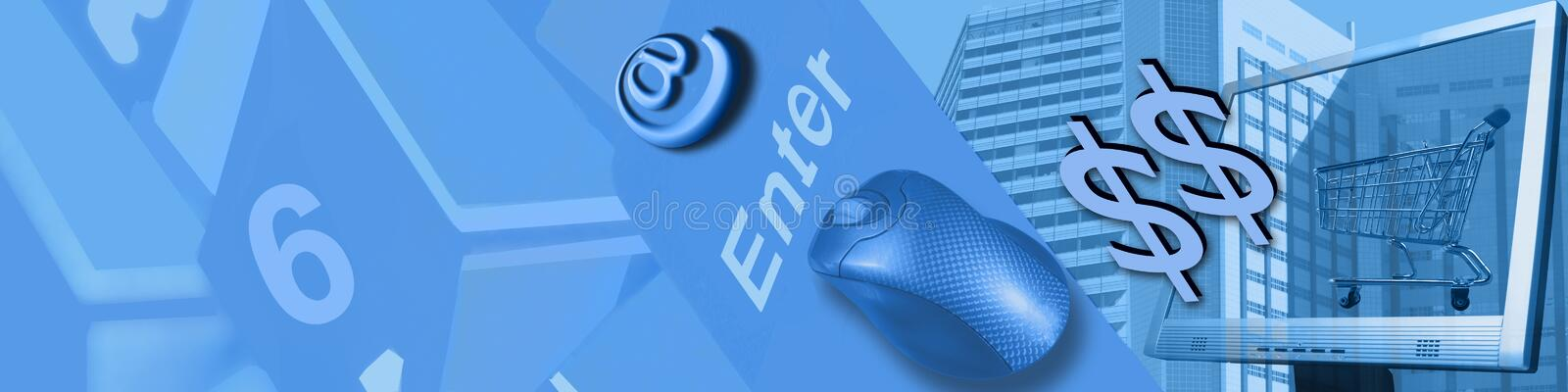 Technology and Ecommerce. The keyboard, business buildings, mouse, screen, shopping cart, @, and $-signs are metaphors and leading to the title Technology and E royalty free illustration