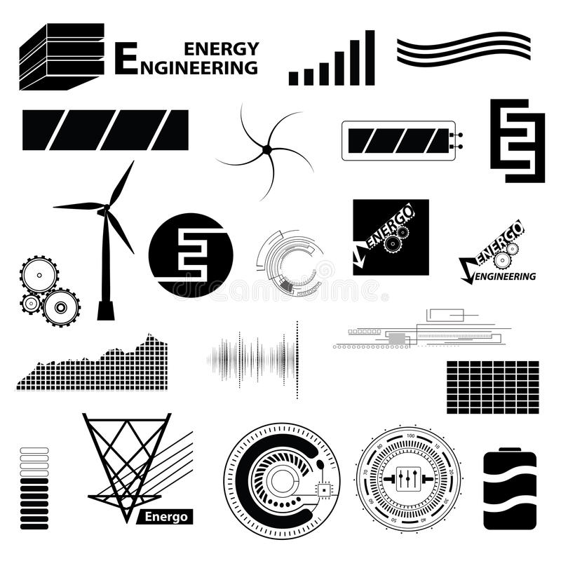 Technology and energy set different sign. Simple icons and symbol for engineering. Vector abstract collection stock illustration
