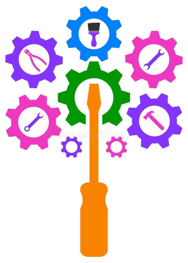 Technology engine gear tree logo. Illustration of technology engine gear wheel tree logo with tools creative icon royalty free illustration