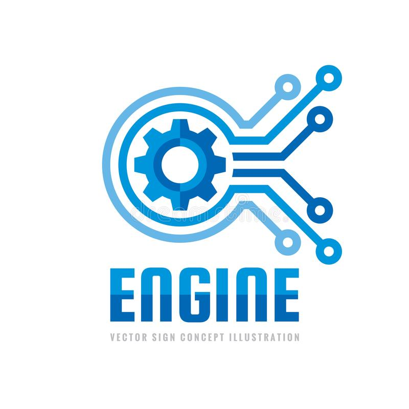 Technology engine - logo template concept illustration. Abstract creative sign. Internet tech SEO icon. Design element. Technology engine - logo template vector illustration