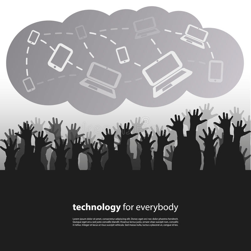 Technology for Everybody - Design Concept. Black and White Technology Consumer Concept Design with Crowd of Users Reaching for IT Devices in the Cloud royalty free illustration