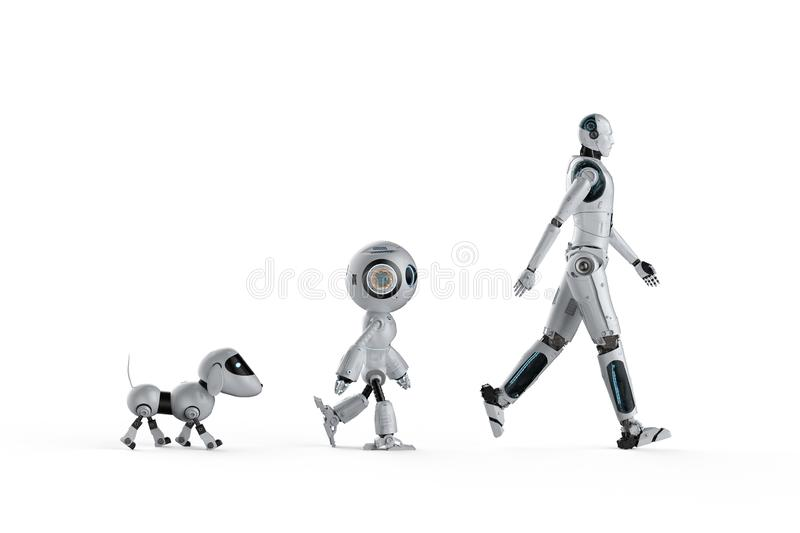 Technology evolution concept. With 3d rendering dog robot, mini robot and cyborg royalty free illustration