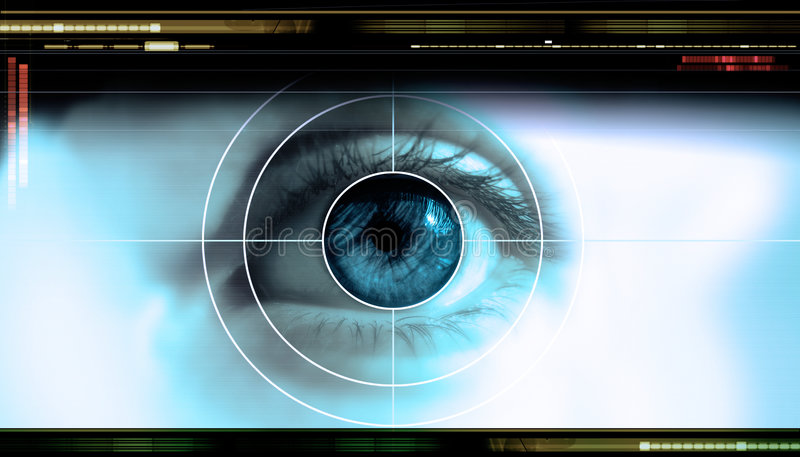 Technology eye. High-tech technology background with targeted eye on computer display royalty free stock images