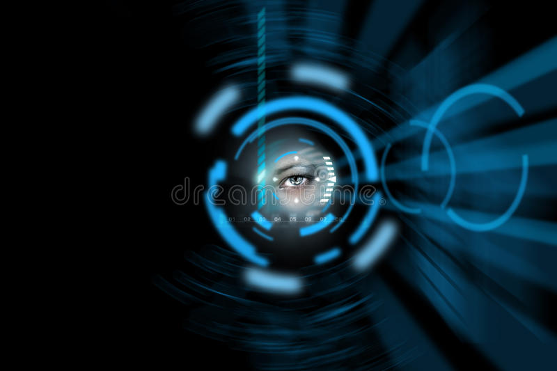Technology eye background. Science fiction technology human eye stock photography