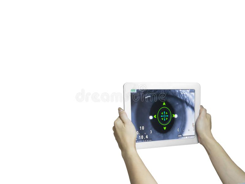 Technology eye scan hand hold taplet. White background stock images