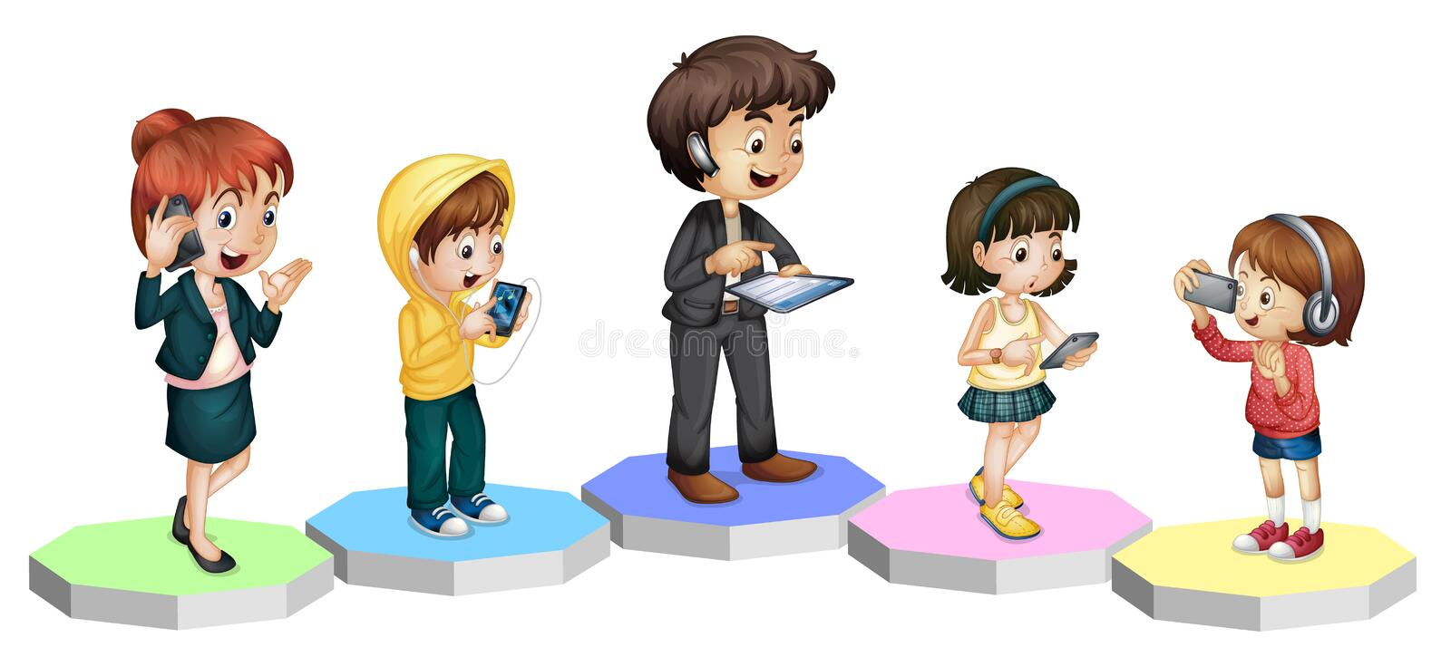 Technology Family. Illustration of modern technology in the family royalty free illustration
