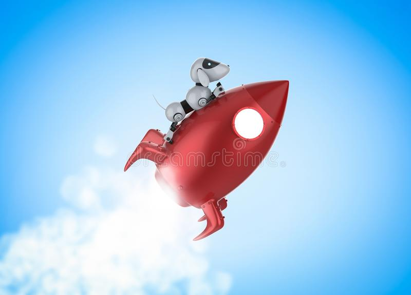 Technology fast speed concept. With 3d rendering robot riding on space shuttle stock illustration