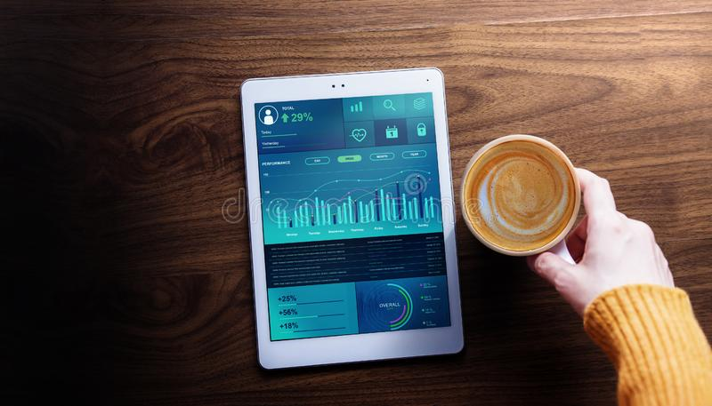 Technology,Finance and Business Marketing in Everyday Life Concept. Woman with Hot Coffee seeing Graphs and Charts. Show on Digital Tablet. Top View royalty free stock photography