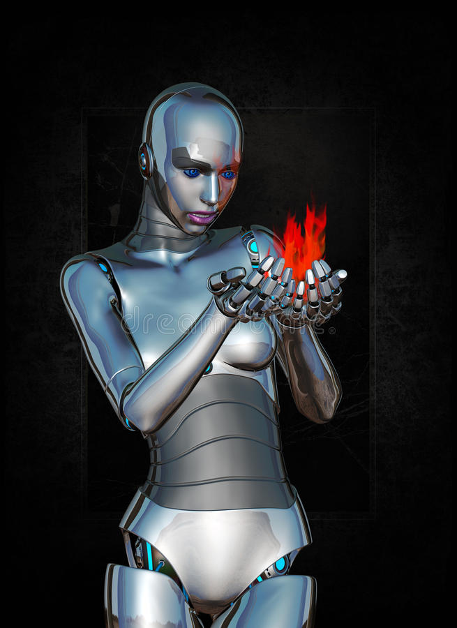 Technology Science Fire Robot Woman Concept. Abstract concept for science and technology. A female android cyborg robot is holding and looking at fire. The face stock illustration
