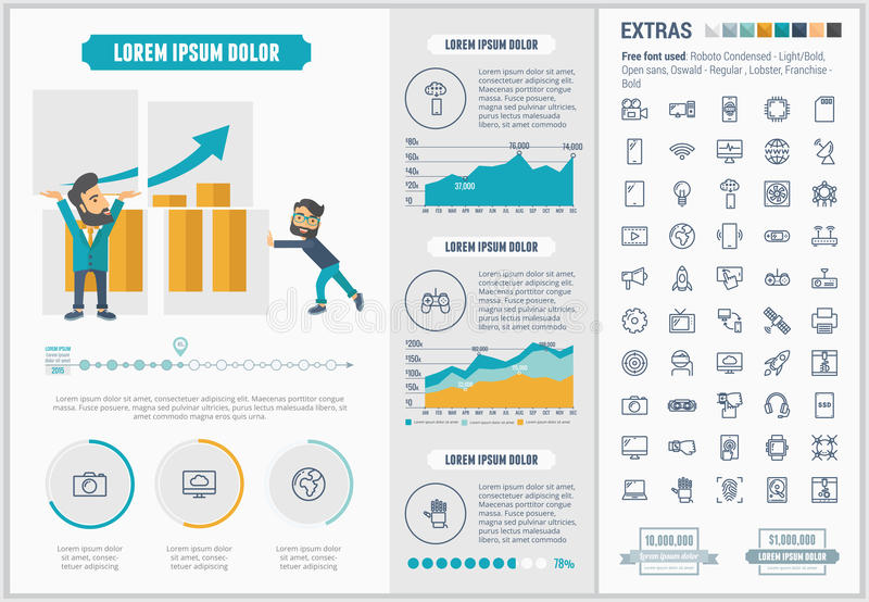 Technology flat design Infographic Template. Technology infographic template and elements. The template includes illustrations of hipster men and huge awesome royalty free illustration